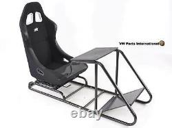 Car Gaming Racing Chair Frame Bucket Seat Black Faux Leather for PS5 XBox Games