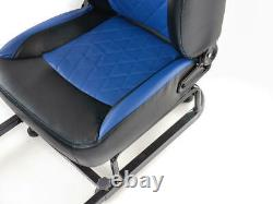 Car Gaming Racing Frame Chair Bucket Seat Faux Leather Black Blue for PS5 XBox
