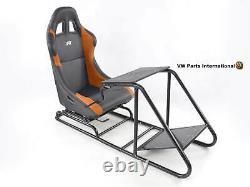 Car Gaming Racing Sim Frame Chair Bucket Seat Black Orange Fits Logitech Fanatec