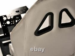 Car Gaming Racing Simulator Frame Chair Bucket Seat Frame Carbon Look Silver