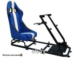 Car Gaming Racing Simulator Frame Chair Bucket Seat Gift PC PS5 XBox Blue White