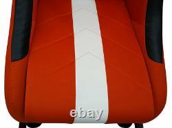 Car Gaming Racing Simulator Frame Chair Bucket Seat Orange White Fits Logitech