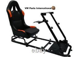 Car Gaming Racing Simulator Frame Chair Bucket Seat PS4 XBox PS3 Black/Orange