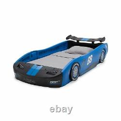 Delta Children Twin Size Bed Turbo Race Car Molded Blue Kids Bedroom Furniture