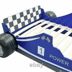 Kids Car Bed Frame Children Racing Blue Single Race Boys Slatted Furniture MDF