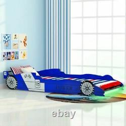 Kids LED Racing Car Bed Frame Wooden Single Bed for Children Boys Girl Bedroom