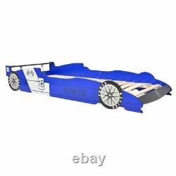 LED Race Car Bed Blue Wood Frame Racing Vehicle Light Kids Children Teens Single