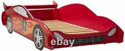 Legaré Furniture Children's Race Car Standard Bed Frame for Kids Red and Whit