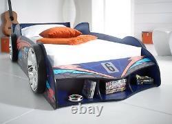 MRX Blue Boys Children Kids Junior 3ft Single Super Car Racing Bed Frame