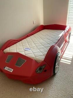 Storm Kids Toddler Racing Car Bed Frame & Natural Coconut Mattress