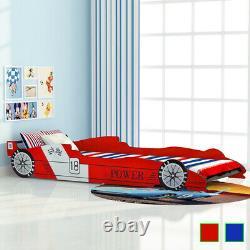 VidaXL Children's Race Car Bed 90x200 cm Kids Toddler Cot Bed Frame Red/Blue
