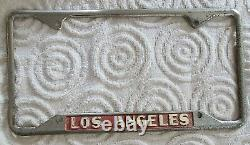 Vintage Los Angeles License Plate Frame Set Robert Brown Ford Chevy Hot Rod Rat