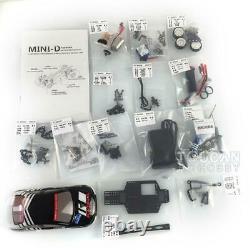 1/28 Minid Drift Racing Awd Châssis Modèle Evo Body Shell Rc Car Kit Avec Esc À Moteur