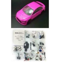 1/28 Minid Drift Racing Rc Voiture Evo Body Shell Awd Châssis Kit Chargeur Esc