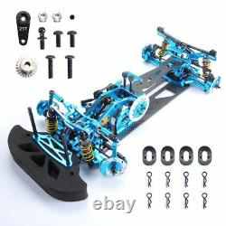 110 4wd Rc Car Drift Alliage Carbon Fibre Rc Racing Car Drive Shft Frame Kit Bleu