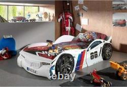 Blanc Bmw Rallye Tour Racing Car Racer Cadre De Lit Pour Enfants 3ft Options De Matelas