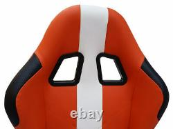 Car Gaming Racing Sim Frame Chair Bucket Seat Orange White Fits Logitech Ps5 Pc