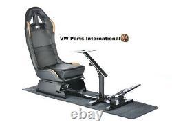 Car Gaming Racing Simulator Frame Chair Bucket Seat Frame Black Gold Ps5 Xbox