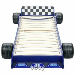 Enfants Car Cadre De Lit Enfants Course Bleue Single Race Garçons Meubles Slatted Mdf