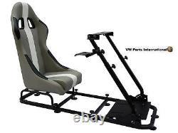 Gaming Car Racing Simulator Cadre Président Bucket Seat Pc Ps3 Ps4 Xbox Gris / Blanc
