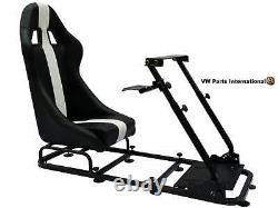 Gaming Car Racing Simulator Président Cadre Bucket Seat Noir / Blanc Ps4 Ps3 Xbox Pc