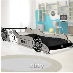 Kids Car Bed Frame Formule 1 Racing Bed Argent