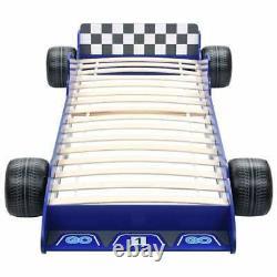 Kids Race Car Bed Frame Single Childrens Toddler Junior Racing Car Bed Blue Boys
