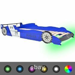 Led Race Car Bed Blue Wood Frame Racing Véhicule Léger Enfants Adolescents Single