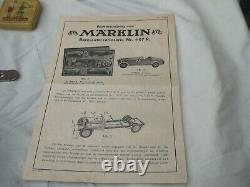 Rare Original Marklin 1107 Voiture De Course Avec Correct 1101 Châssis, Boîte Et Clé
