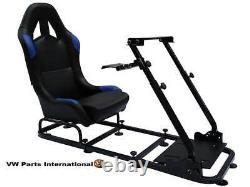 Voiture De Course Frame Volant + Chaise Bucket Seat Ps4 Xbox Ps3 Pc Bleu / Noir