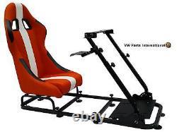 Voiture Gaming Racing Simulator Frame Chair Bucket Seat Orange White Fits Logitech